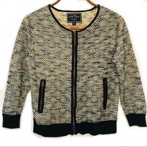 Lucky Brand geometric embroider black white jacket